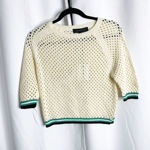 New endless rose cream green open knit sweater M